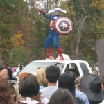 Principal Jacobs as Captain America at Matoaka Elementary's annual Halloween parade Williamsburg Virginia