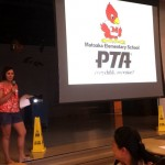 Michelle Alexander speaks to parents at Matoaka's Ice Cream Social event